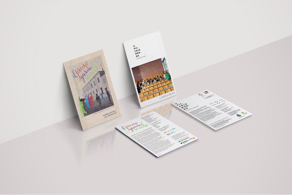 """""""Il piccolo mondo"""" and """"Il primo giorno di scuola"""" exhibitions leaflets"""